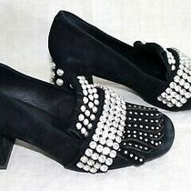 Jeffrey Campbell Bernice Leather & Rhinestones Pearls Pump Heels Shoes 8 1/2 Photo