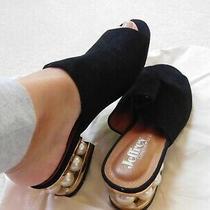 Jeffrey Campbell Black Arcita Pearl Heel Mule Slide Sz 8 All Over Pearl Heel Photo