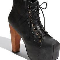 Jeffrey Campbell Black Distressed Leather Lita Platform Ankle Boot Bootie Boho 7 Photo