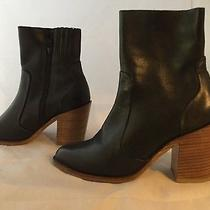 Jeffrey Campbell Black Leather Ankle Booties Women Size 5.5 Photo