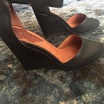 Jeffrey Campbell Black Leather Ankle Strap Wedge Pump Tatum Size 6 Photo