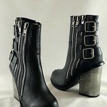 Jeffrey Campbell Black Leather Boots With Silver Block Heel (Nwob) Photo