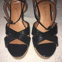 Jeffrey Campbell Black Leather Cork Wedge  Ankle Strap Sandals Size 8.5 Photo
