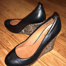 Jeffrey Campbell Black Leather High Heel Wedge Shoes Size 7.5  Photo