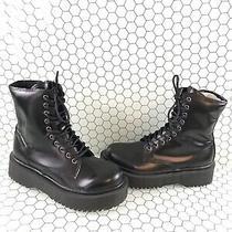 Jeffrey Campbell Black Leather Lace Up/side Zip Platform Boots Women's Size 8 Photo