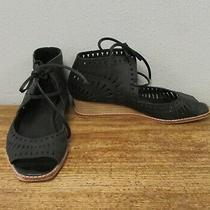 Jeffrey Campbell Black Leather Laser Cut-Out Sandals Aztec Wedge Ankle Mocs 6.5 Photo