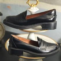 Jeffrey Campbell Black Leather Ledger Penny Loafers Shoes Flats 6.5 M Euc Nr Photo