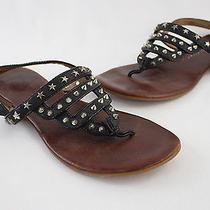 Jeffrey Campbell Black Leather Patent Trim Studded Slingback Sandal Flat Shoe 8 Photo