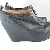Jeffrey Campbell Black Leather Playform Wedge Ankle Boots Size 5 Photo