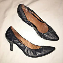 Jeffrey Campbell Black Leather Shoes Gathers Pumps Heels Womens Size 9.5 Career Photo
