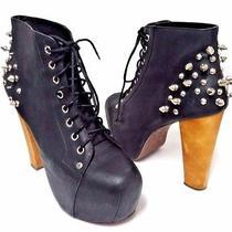Jeffrey Campbell Black Leather Spike Boots Euc Size Sz 7 Photo