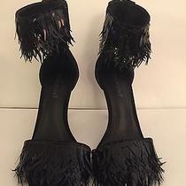 Jeffrey Campbell Black Pallet Sequin Ankle Strap Heel Sandals 8 Photo