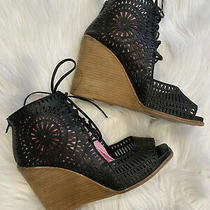 Jeffrey Campbell Black Rayos Laser Cut Leather Wedge Booties Lace Upsize 9 Photo