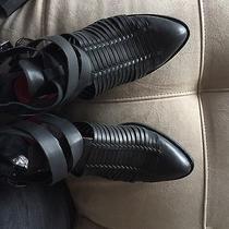 Jeffrey Campbell Black Stinson Leather Heel Boots 8.5-9 Msrp 180 Photo