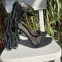 Jeffrey Campbell Black Strapy Sexy Pump W/ Bk Zip Gold Buckle Fringe Size 8 Photo
