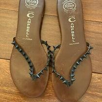 Jeffrey Campbell Black Studded Thong Flat Sandals Size 8.5 Photo
