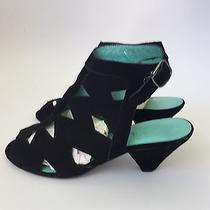 Jeffrey Campbell Black Suede Cage Heels Shoes Ankle Attic 8.5 Photo
