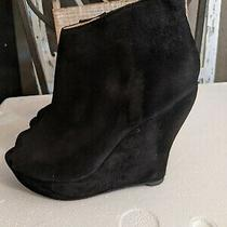 Jeffrey Campbell  Black Suede Leather Wedge Ankle Boots Size 9/40 Photo