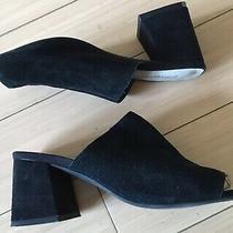 Jeffrey Campbell Black Suede Perpetua Mule Heels Sandals 6.5 Photo
