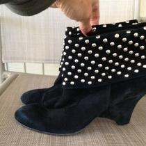 Jeffrey Campbell Black Suede Silver Studded Ankle Heel Boots Sz 8 Photo