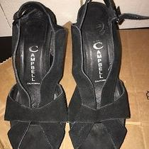 Jeffrey Campbell Black Velvet Wedge Heel Shoe Women's Size 8 Photo