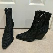 Jeffrey Campbell Black Women's Fabric Weave Bootie Heels Shoes Size 6 Photo