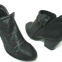 Jeffrey Campbell Black Woven Leather Slip-on Ankle Booties Boots Size Sz 7.5 Photo