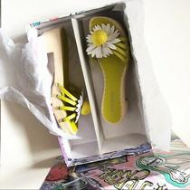 Jeffrey Campbell Blossoms Wooden Sandal Yellow White Flower Womens 6 Photo