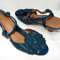 Jeffrey Campbell Blue Leather Flower Applique Sandals Size Sz 8 Photo