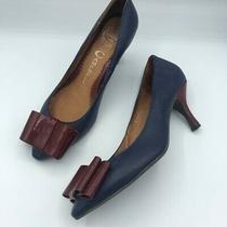 Jeffrey Campbell Blue Leather Pumps Red Bow Heels 6.5 Photo