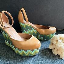 Jeffrey Campbell Blue Retro Tan Wedges - 9 Photo
