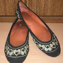 Jeffrey Campbell Boho Black Suede Ballet Flats W Gold Embroidery 7.5 Photo