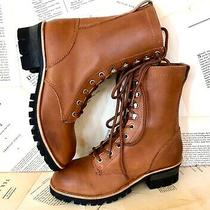 Jeffrey Campbell Boot Combat Moto Lace Up Brown Tan Leather 9 New Photo