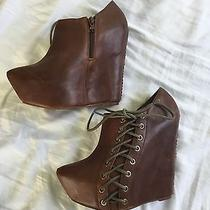 Jeffrey Campbell Booties Platform Wedge Lace-Up Sides Brown 7 Photo