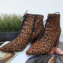 Jeffrey Campbell  Booties Size 10 Nwob ...with Style Leopard Print Lace Up Look Photo