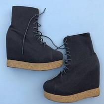 Jeffrey Campbell Boots Size 10 Ease Up Platform Wedge Shoes Gray Canvas Womens Photo