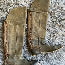 Jeffrey Campbell Boots Size 8 Brown Olive Back Zip Snap Laced Over the Knee Photo