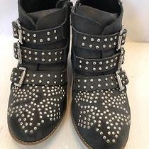 Jeffrey Campbell Boots Starburst Black Gold Studded Ankle Bootie Size 7 Wedge Photo