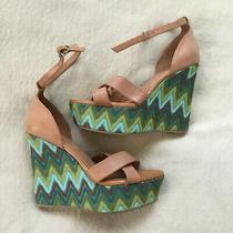 Jeffrey Campbell Bradshaw Blue/green Platform Wedge Leather Sandals 5 Heel 9 Photo