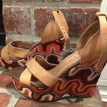 Jeffrey Campbell Bradshaw Colorful Chevron Wedge Heels Size 8 Photo