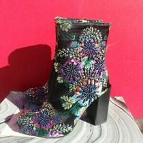 Jeffrey Campbell Brocade Fabric Beaded Embraided Boots Size 6 Photo