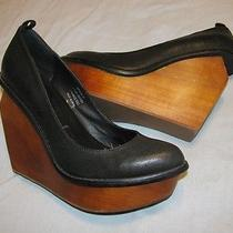 Jeffrey Campbell Broome-St Black Leather Platform Wedges Size 7 M Photo
