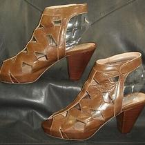 Jeffrey Campbell Brown Cut Out Leather Slingback Sandal Women's Shoes Size Us 9 Photo