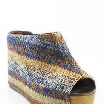 Jeffrey Campbell Brown Geometric Woven Virgo Slides Pumps Wedges Sz 9 M Photo