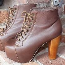 Jeffrey Campbell Brown Leather Lita Ankle Boots Wood Heels Sz 6 Photo