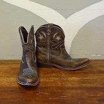 Jeffrey Campbell Brown Leather Silver Star Moon Western Cowboy Ankle Boots - 38 Photo