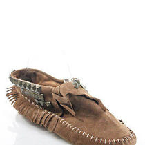 Jeffrey Campbell Brown Suede Fringe Stud Detail Moccasin Flats Size 9 Photo