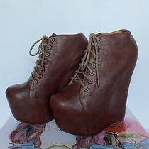 Jeffrey Campbell Brown Wedge Booties 99 Tie 2 (Size 7 m) 2013 Very Rare Rrp 170 Photo