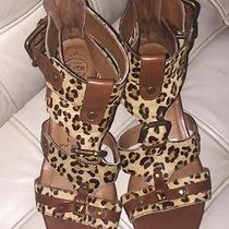 Jeffrey Campbell 'Buckles' Tan Leather Calf Strappy Gladiator Sandal Heel 8 Photo