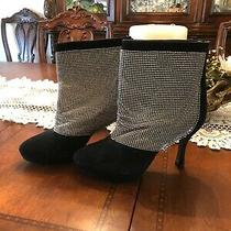 Jeffrey Campbell Ca Black Suede Silver Metal Mesh Heeled Booties Good Condition Photo